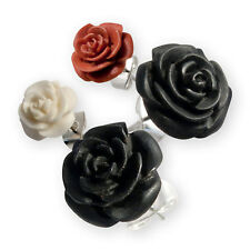 Ear Studs Earrings Rose Flower blossom handmade wood buffalo bone ethno