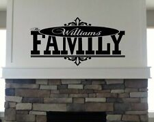 Personalized Custom Family Name Wall Decal vinyl lettering quote