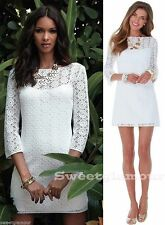 $168 Lilly Pulitzer Topanga Resort White Lace Breakers Crochet Knit Tunic Dress