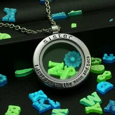New Handmade Silver Glow In The Dark Family Floating Locket Necklace 50 Charms