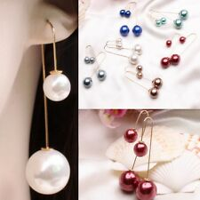 Pearl Drop Dangle Long Chain Threader Earrings Silver Plated Jewelry Gift Style