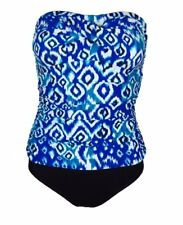 Beach Diva NWT One Piece Bathing Suit Ruched Bandeau Blue Printed Swimsuit 8-16