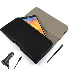 For Blackberry Faux Leather Horizontal Pouch Belt Clip Case CAR CHARGER STYLUS