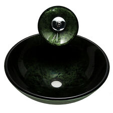 Tempered Glass Vessel Sink Bowl with Drain & Waterfall Faucet LOTS Deep Green