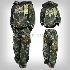BOYS KIDS TREE JUNGLE CAMOUFLAGE TRACKSUIT BOTTOMS AND HOODIE SET 3 4 5 6 7 8 9