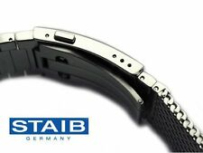 STAIB - GERMANY  - 3.6 x 18-20-22 mm PUSHER DIVER BUCKLE Mesh Watch Bracelet