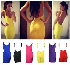 Quality Deep V Neck Open Backless Bodycon Stretch Bandage Mini Party Prom Dress