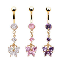 Butterfly Design Dangle Belly Button Navel Ring 18K Gold Piercing Crystal Ring