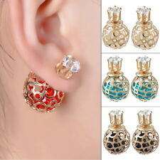 1Pair Double Sides Hollow Gold Plated Crystal Ball Ear Studs Earring 27*16mm