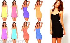 Lot New Women Stretch Camisole Strap On Long Tank Top Mini Dress Queen OS L XL