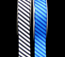 "4 Yards Diagonal Stripes Striped Grosgrain Ribbon 5/8""W Black White Blue"