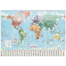 Wall MAP OF THE WORLD Chart Political Flags Poster Home Art Decor Gift World Map