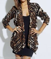 Black Brown Leopard Animal Lace Back Scarf Drape Front Cardigan/Cover-Up Plus