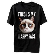 Grumpy Cat This Is My Happy Face Licensed Adult Humor T-Shirt - Black