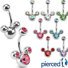 MICKEY MINNIE MOUSE DISNEY CLUSTER ~All Colors~ GEMS BELLY RING 14g