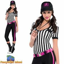 INSTANT REPLAY SEXY REFEREE FOOTBALL SPORTS UK 8-16 Ladies Fancy Dress Costume