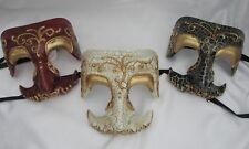 Venetian Adult Half Mask with Mustache Nose Antique Crackle Finish Masquerade