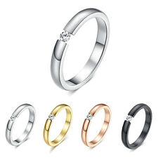 CZ Couple Rings Black Silver Rose Gold Titanium Steel Band Wedding Ring Size5-10