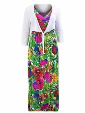 Rose vert blanc violet rouge long tall imprimé floral tropical robe longue & hausser