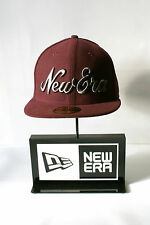 New Era 59FIFTY New Era Script Grey Logo Cap Fitted Burgundy Hat Baseball Cap
