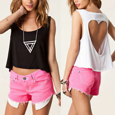 New Sexy Hollow Backless Short T-Shirts Tops Crop Loose Baggy Vest Tank Blouse