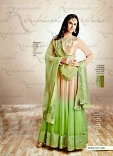 Green-Beige Shaded Anarkali Wedding Salwar Kameez Indian Suit-Nakkashi-11021