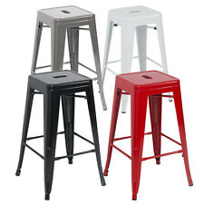 Set of 6 Metal Steel Bar Stools Vintage Antique Style Counter Bar Stool Combo