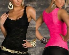 Summer Women Blouse Sexy Lace Sleeveless Casual Tank Tops Solid Slim Vest Shirt