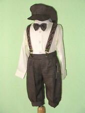 Boy Knickers Vintage Outfit , Ivory/Dark Brown,12 Mo,18 Mo,24 Mo,2T,3T,4T