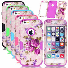 Purple Flower Pattern Silicone Shockproof Combo Matte Case For iPhone 6 6S Plus