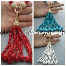 "25"" Red Coral Blue Turquoise white Round Freshwater Pearl Necklace Cz Pendant"