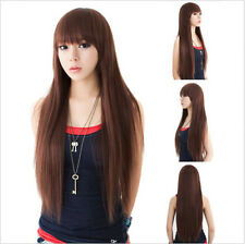 New Women's Fashion Long Straight Wig Hair Anime Cosplay Party Wigs+Wig Cap
