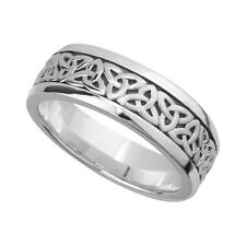 Silver 9mm Celtic Irish Trinity Knot Work Band Ring Sizes P -Z+1 Made in Ireland