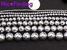 """Round Sliver Faceted Hematite Crafts Stone Beads For Jewelry Making Gemstone 15"""""""