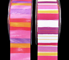 "2 Yards May Arts Pink Purple Yellow Orange Striped Grosgrain Ribbon 1 1/2""W"