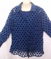 Christopher & Banks 2 Pc Polka Dot Sheer Blouse & Tank Top NWT Blue Purple