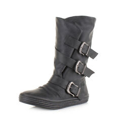 Womens Ladies Blowfish Olin Black Texas Buckle Calf High Wide Boots Size