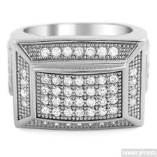 Silver Pyramid Style Lab Made Flawless Mens Square Ring