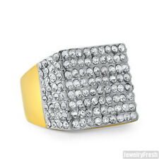 14K Gold Finish Czech Crystal Fully Iced Out Big Mens Ring