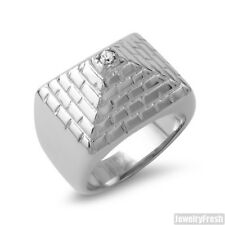 Stainless Steel Polished 3D Silver Pyramid CZ Mens Ring