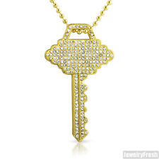 Iced Out Czech Crystal Key Pendant Gold Chain Set