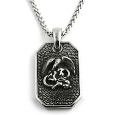 Silver Stainless Steel Dogtag Mens Pendant Necklace Set