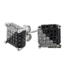 925 Silver Black and White Lab Made Mens Earrings