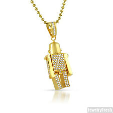 Gold Iced Out CZ Micro Robot Hip Hop Pendant Set