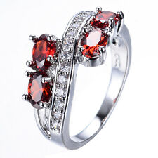 Fashion Red Ruby Rings Sz 6-10 Crystal Jewelry Women's White Gold Filled Wedding