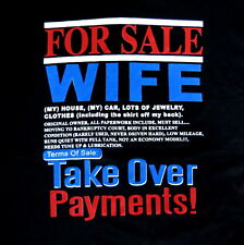 For Sale Wife Take Over Payments Funny Humor Mens Black Cotton T-Shirt Tee SC IW