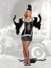 Sexy Roaring 20s Prohibition Era Frisky Fringe Dress Flapper Costume Adult Women