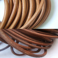 5mm Round Natural Brown Genuine Leather Cord Craft 1 Yard , 5 Yards , 10 Yards