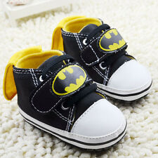 Toddler Baby Boy Black Batman Soft Sole Crib Shoes Size Newborn to 18 Months