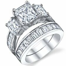 2 Carat Radiant Cut Cubic Zirconia CZ Sterling Silver Women's Engagement Ring S